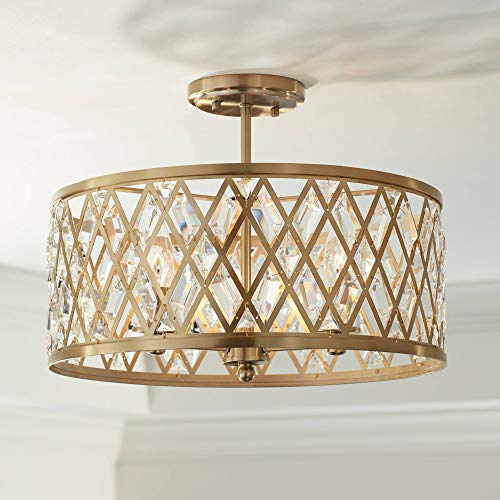 Tanz Modern Ceiling Light Semi Flush Mount Fixture Satin Brass Lattice Drum 16 1/2