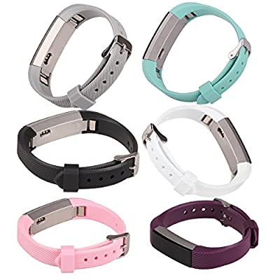 bayite Accessory Silicone Watch Bands with Watch Buckle for Fitbit Alta Pack of 6, 5.5 - 7.8 inches
