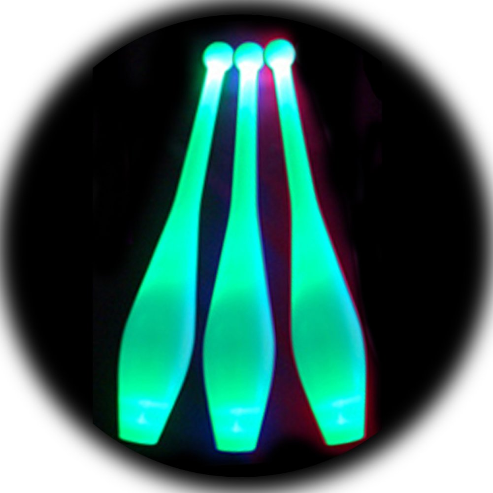 Green LED Juggling Clubs (Set of 3)