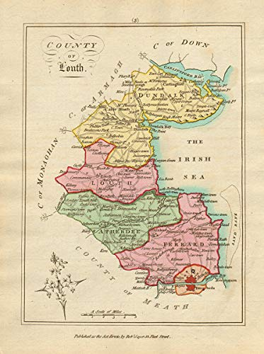 Map Of Ireland Louth.Amazon Com County Of Louth Leinster Antique Copperplate