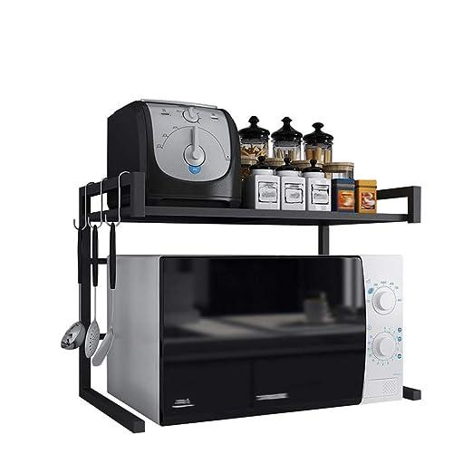 Estante negro del horno microondas Horno de 2 niveles, organizador ...