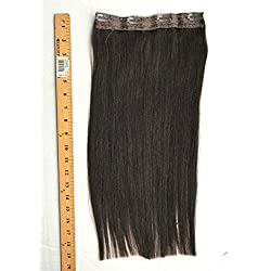 "TRESSMATCH One (1) Piece Clip in Remy Human Hair Extensions Dark Brown 18"" (20"") Long 8.5""Wide (8 Colors Available)"