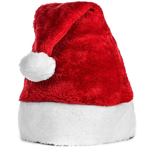 TOPFAST Santa Hat-Christmas Costume Classic Hat For Adult, Red/White