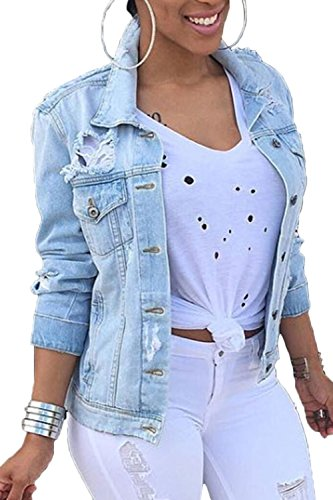 Women Denim Jackets Distressed Plus Size Long Sleeve Jean Jacket Coats Blue XXL