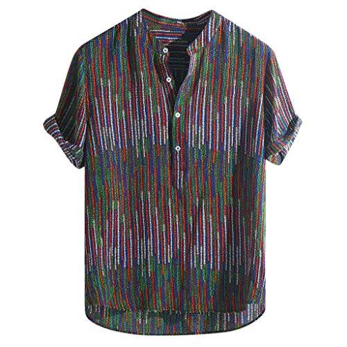 - Bsjmlxg Summer Mens Ethnic Printed Stand Collar Colorful Stripe Short Sleeve Loose Shirt Fashion Tops Red