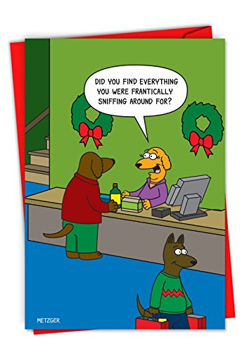 C6246XSG-B12x1 Box Set of 12 'Dog Shopping' Hysterical Christmas Greeting Card Featuring The Customer Service In A Dog Mall, with Envelopes