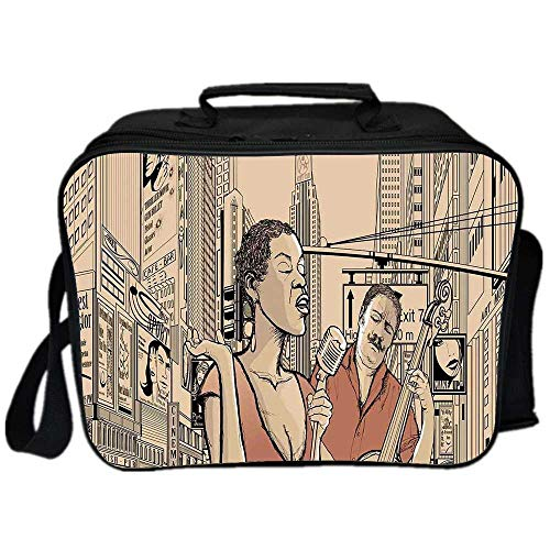 Jazz Music Environmental Lunch Ice Bag,An Jazz Singer With Double Bass Player in a Street of New York Urban Lifestyle for Travel Picnic,One size