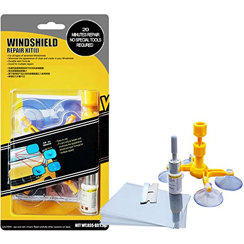 Woworld Car Windshield Glass Repair Kit Fix Cracks,Chips,Bull's Eyes and Starts DIY Repair Tool Set by Woworld (Image #1)