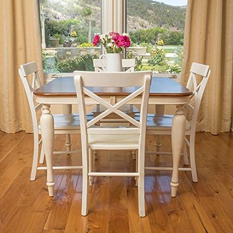 Bronwen Dark Brown Antique White Dining Table