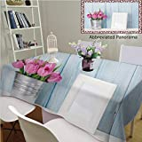 Unique Custom Cotton and Blend Tablecloths Fresh Pink Tulip Flowers Bouquet and Blank Photo Frame with Copy Space On Shelf in Front of WoodenTablecovers for Rectangle Tables, 86'' Wx 55'' L, 220x140cm