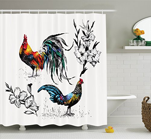 Ambesonne Gallos Decor Collection, Roosters and Flowers Branches Stems Blooms Grasses Wildflowers Artwork Print, Polyester Fabric Bathroom Shower Curtain, 75 Inches Long, Yellow Teal Blue (Long Print Stem)