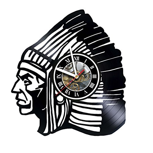 Native American - Indian - Wall Clock Made of Vinyl Record - Decor Handmade Art Design - Great gifts idea for birthday, wedding, anniversary, women, men, friends, girlfriend boyfriend and teens (Wedding Gift Ideas For Best Friend Female Indian)