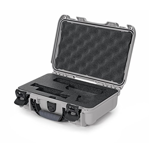 Nanuk 909 Waterproof Professional Glock Pistol/Gun Case, Military Approved with Custom Insert - Silver - Made in Canada