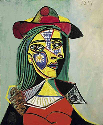Neron Art Pablo Picasso Woman in Hat and Fur Collar, 1937 - Original Abstract Canvas Paintings Hand Painted Reproduction Rolled - 75X90 cm (Approx. 30X36 inch) for Wall Decoration