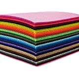 flic-flac 44PCS 4 x 4 inches (10 x10cm) Assorted Color Felt Fabric Sheets Patchwork Sewing DIY Craft 1mm Thick