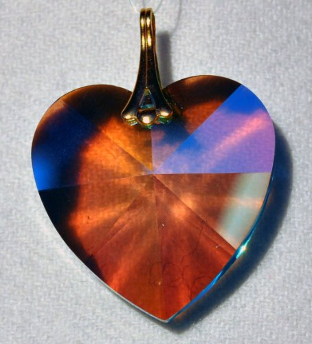 Swarovski 28mm Rosaline Aurora Borealis Large Crystal Faceted Heart Prism -