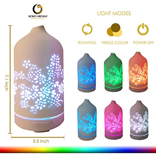 KOKO Essential Diffuser Aromatherapy Floral Ceramic 120mL 7 Cool Air Defuser Auto Office Bedroom