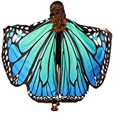 Annvivi Halloween Ladies Fairy Nymph Elf Soft Fabric Butterfly Wings Costume Accessory (Blue Green)