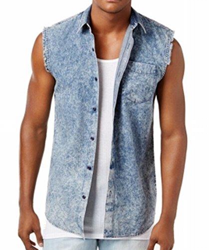 American Rag Mens Small Acid-Wash Button Down Denim Shirt Blue (Acid Wash Denim Shirt)