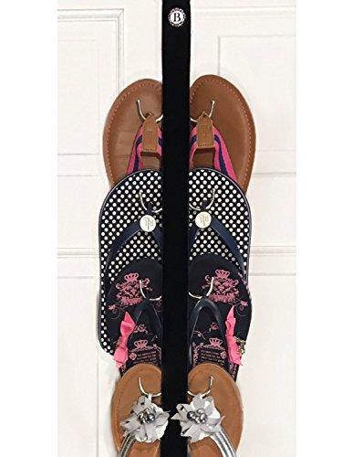 New- Flip Flop and Sandal Hanger By Boottique - Black Velvet Ribbon with Metal Hooks