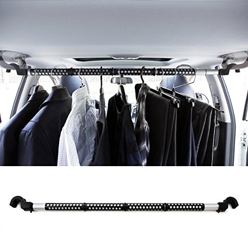 "RED SHIELD Automotive Clothes Hanger Bar. Hook to Hang, Portable, Expandable (39"" to 67"") Heavy Duty Clothing Organizer Rod, Rack. Universal Fit for Any Vehicle, Car, Truck, SUV, Van, RV. Space Saver."