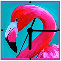 Flamingo, Flamingo Clock, From Original Art, 2 Sizes Available, Desk Clock, Wall Clock, Includes Stand,Free Shipping