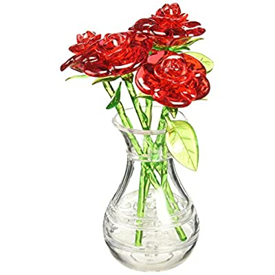 Bepuzzled Original 3D Crystal Jigsaw Puzzle - Red Roses in Vase DIY Assembly Brain Teaser, Fun Model Toy Gift Flower Decoration for Adults & Kids Age 12 and Up, 44 Pieces (Level 2): Toys & Games