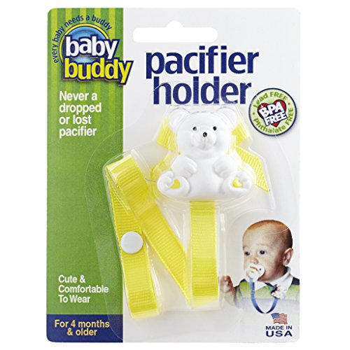 Baby Buddy Pacifier Holder Clip - Cute Fashionable Bear Clips onto Baby's Shirt, Snaps to Paci, Teether, Toy - For Babies 4+ Months - Pacifier Clip for Toddlers Boys & Girls, Yellow, 1 Count ()