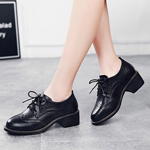 HWF Chaussures femme Souliers simples occasionnels des femmes britanniques de ressort de style rétro de femmes en cuir chaussures talons épais ( Couleur : Noir , taille : 39 ) Noir