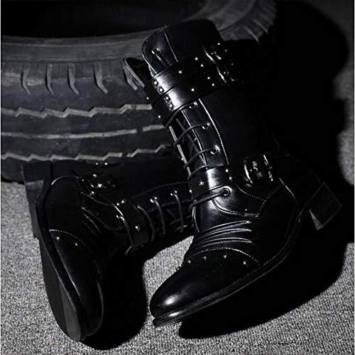 Stivali Martin Lungo Equitazione Utensili Singolo Scarpe Black Gomma Da Rivetto Nero Sottolineato Fase AdWggt