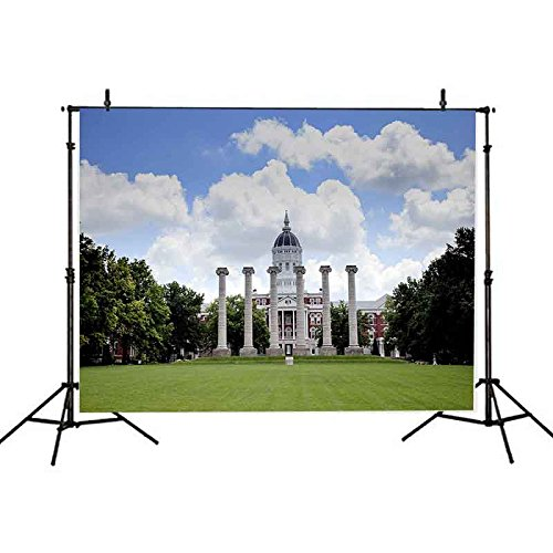 7x5Ft Buildings Under Blue Sky Backdrop Missouri University Photography Background Lawn and Building Backdrop for Pictures YouTube Backdrop VV986