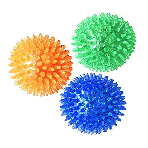 DoubleWood 3 Pieces Pet Squeaky Chewing Balls Dog Soft Stab Balls Cleaning Teeth Toys Balls with High Bounce for Small…