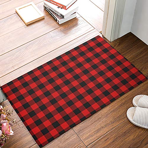 SODIKA Rustic Red Black Buffalo Check Plaid Pattern Doormat Entrance Mat Floor Mat Rug Indoor/Bathroom/Kitchen and Living Room/Bedroom Mats Rubber Non Slip - 23.6 by 15.7 Inch (Kitchen Checkered)