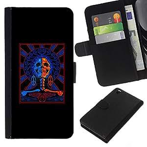 Planetar® Modelo colorido cuero carpeta tirón caso cubierta piel Holster Funda protección Para HTC DESIRE 816 ( Black Red Blue Cops Skull Crossbones )