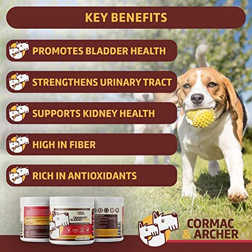 Cormac Archer Dog UTI Cranberry Chews Whole Food Treats for Bladder Relief UT Strength with D-Mannose, Echinacea, Marshmallow Root – Made in The USA