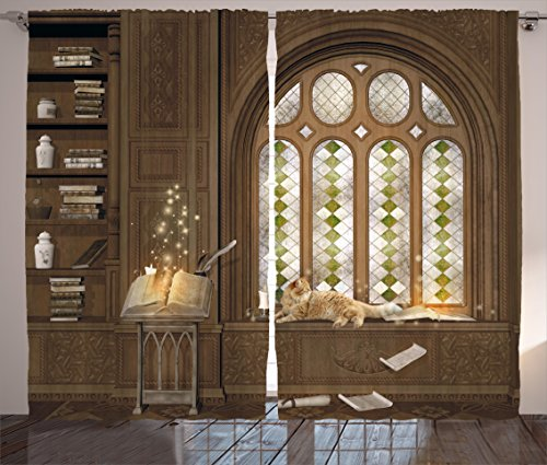 Ambesonne Gothic Curtains, Room for Study in The Medieval Library with Cat Sleeping on The Window Antique Mansion, Living Room Bedroom Window Drapes 2 Panel Set, 108