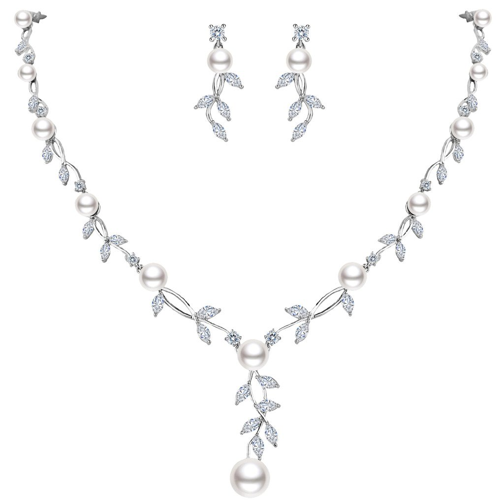 EVER FAITH CZ Cream Simulated Pearl Wedding Floral Vine Filigree Necklace Earrings Set Clear Silver-Tone