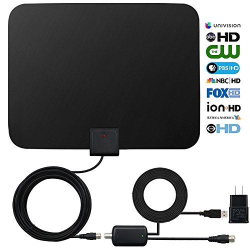 Amplified Indoor Hdtv Antenna (HDTV Digital Antenna Indoor Amplified Antenna 60-80 Miles Range with Signal Amplifier Booster, 16.5FT Wide High Performance Coaxial Cable Better Reception Power Adapter Ultra Thin Super-Soft)