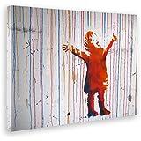 Giallo Bus 1190 Quadro Stampa Su Tela Canvas, Banksy, Bimbo Color, 50 x 70 cm