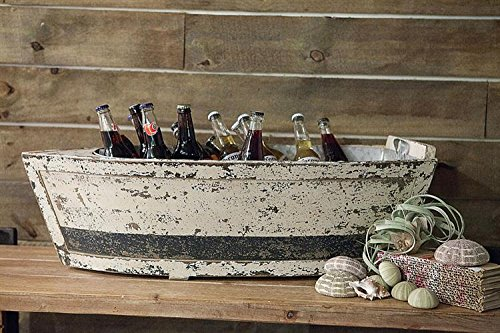 Wood Boat W/ Tin Insert Ice Drink Bucket Holder Distressed White Finish Country Lake Home Nautical D