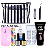 Nail Gel Set with Led Lamp, Nail Extension Gel Kit Poly Gel Clear Acrylic False Nail Tips Double End Nail Pusher Builder Gel Pen for Quick Nail Extension Salon Nail Tool Kit