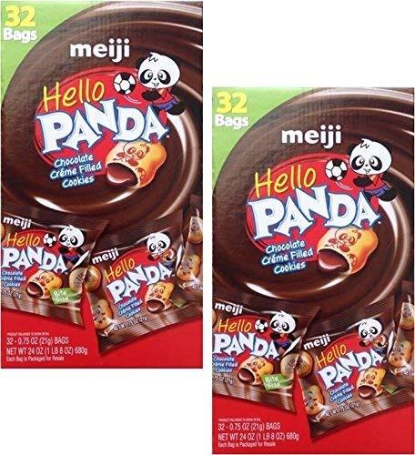 Meiji Hello Panda (2 Box Pack Super Saver) Chocolate Creme Filled Cookies, Box of 32-0.75 Oz Bags Each (Chocolates Filled Creme)