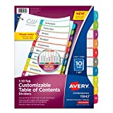 Avery Customizable Table of Contents Dividers, 10-Tab Set (11842)