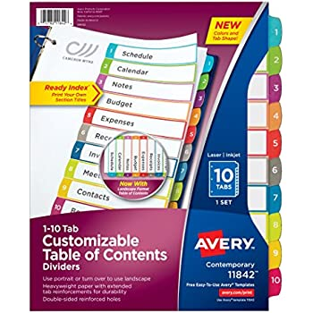 Amazon Avery Customizable Table Of Contents Dividers 10 Tab