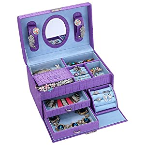 Jewelry Box Organizer with Lock Leather Jewelry Storage Box with Mirror Gift to Women