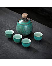 LTLWSH Keramisk japansk sake-set med värmare, 4 sakkoppar, serveringskaraff och varmare skål