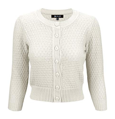 - YEMAK Cute Pattern Cropped Daily Cardigan Sweater Vintage Inspired Pinup,Ivory,X-Large