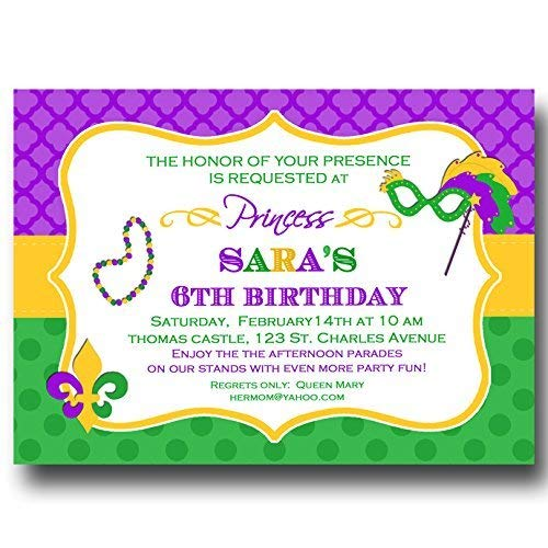 (Mardi Gras Invitation - ANY Wording- Carnival, Masquerade, Mardi Gras Party)