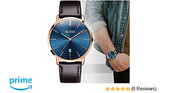 Amazon.com: OLEVS Slim Watch for Men Day Date - Luxury Watches for Men and Comfortable Genuine Leather Band Watchs: Watches