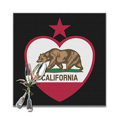 Clipart California Flag Heart Top Placemats Table Mats Dining Table Non-Slip Kitchen Heat Stain And High Temperature Resistant For Kitchen Restaurant Coffee Shop-12x12 Inch (Set For 6)